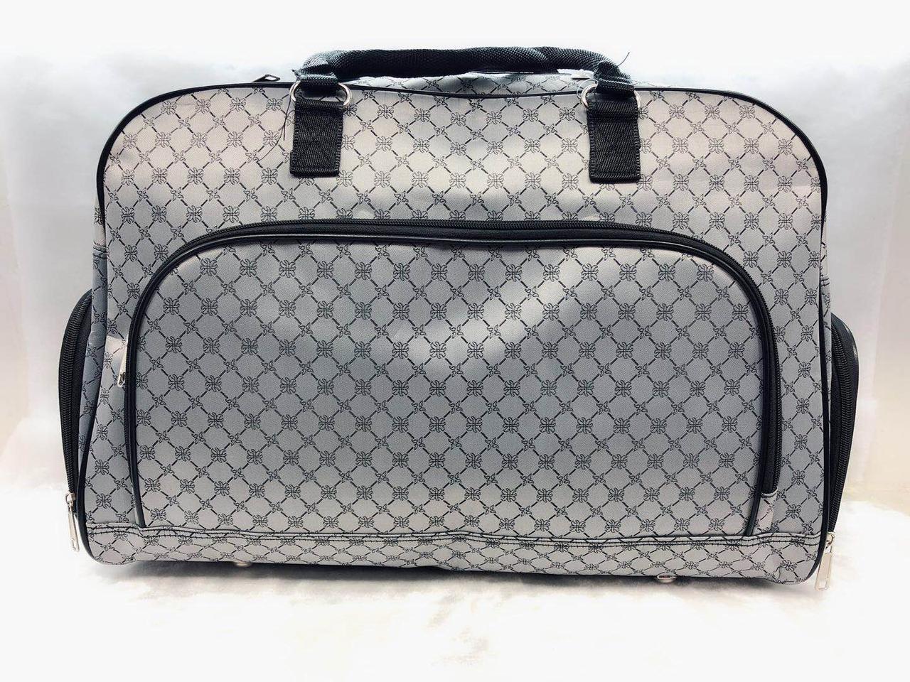 Женская сумка-саквояж дорожная прочная вместительная большая серая