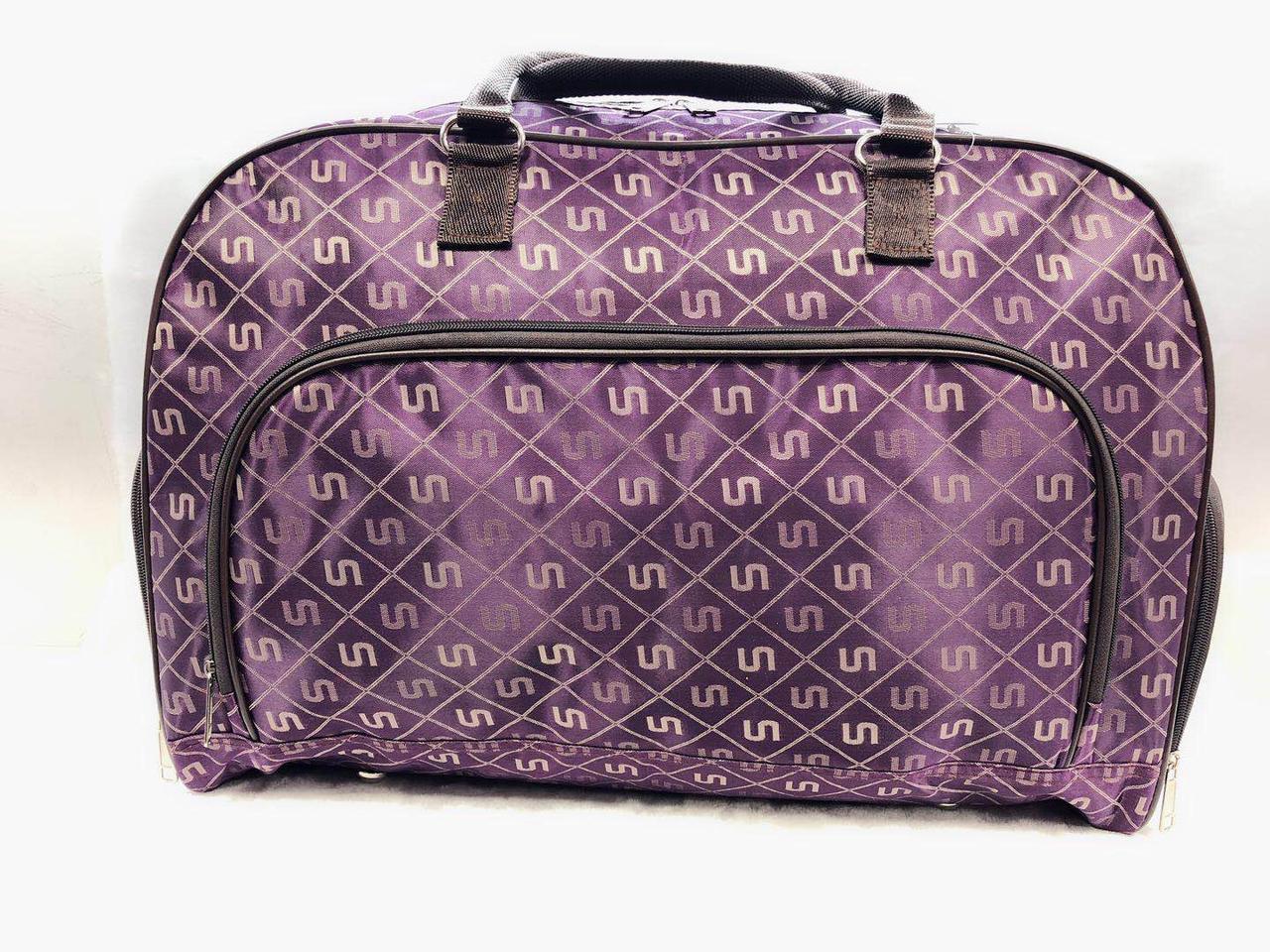 Сумка саквояж жіноча дорожня фіолетова текстильна