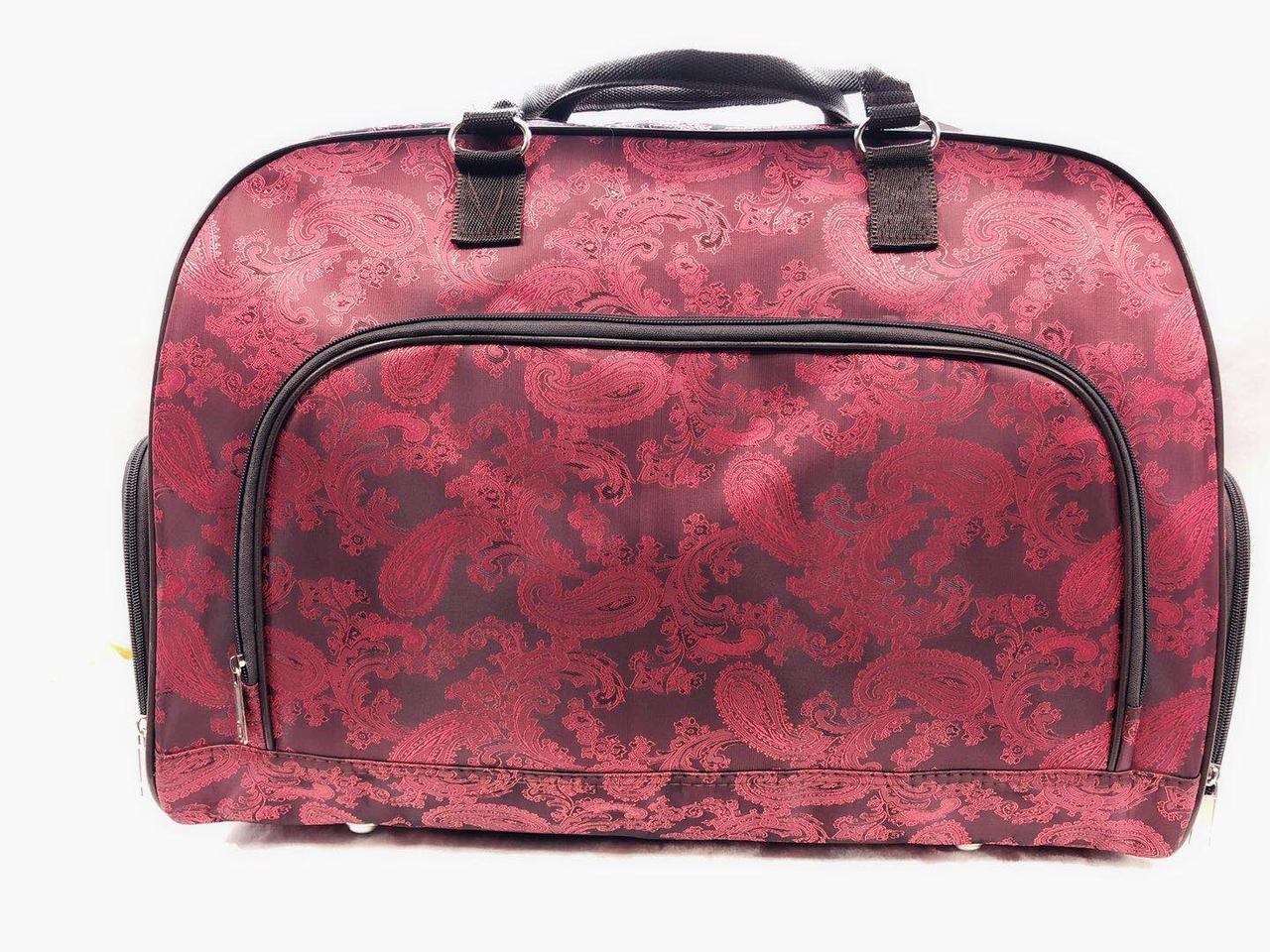 Большая красная дорожная женская сумка саквояж текстильная