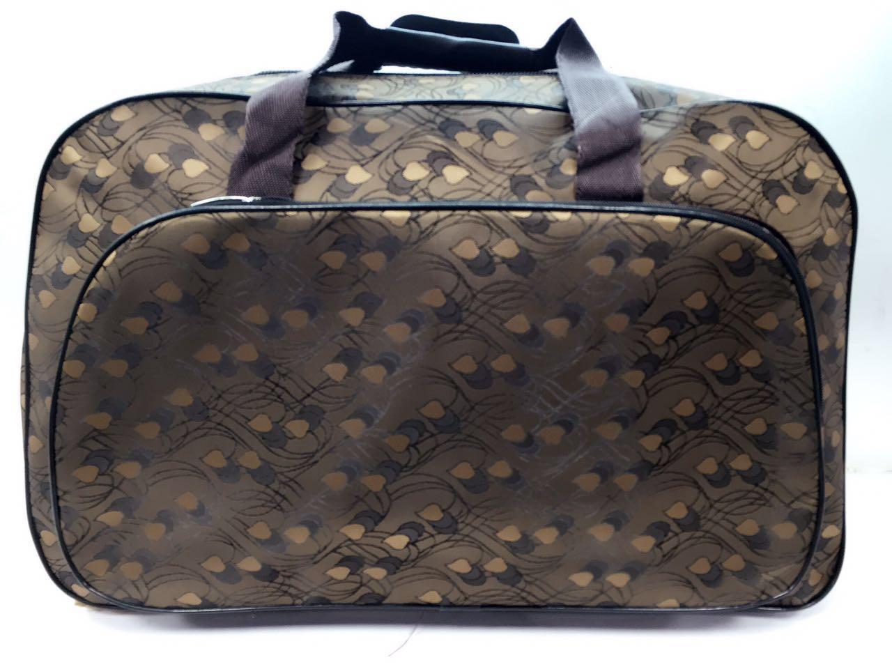 Коричневая дорожная женская сумка-саквояж текстильная