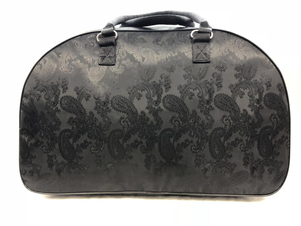 Черная текстильная дорожная большая сумка-саквояж женская