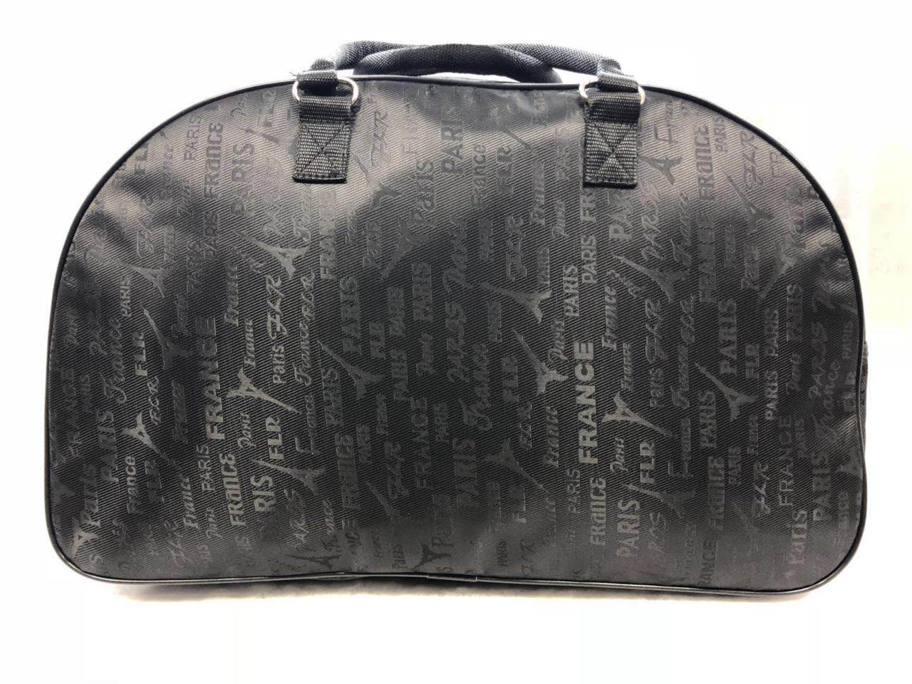 Женская дорожная черная сумка-саквояж текстильная
