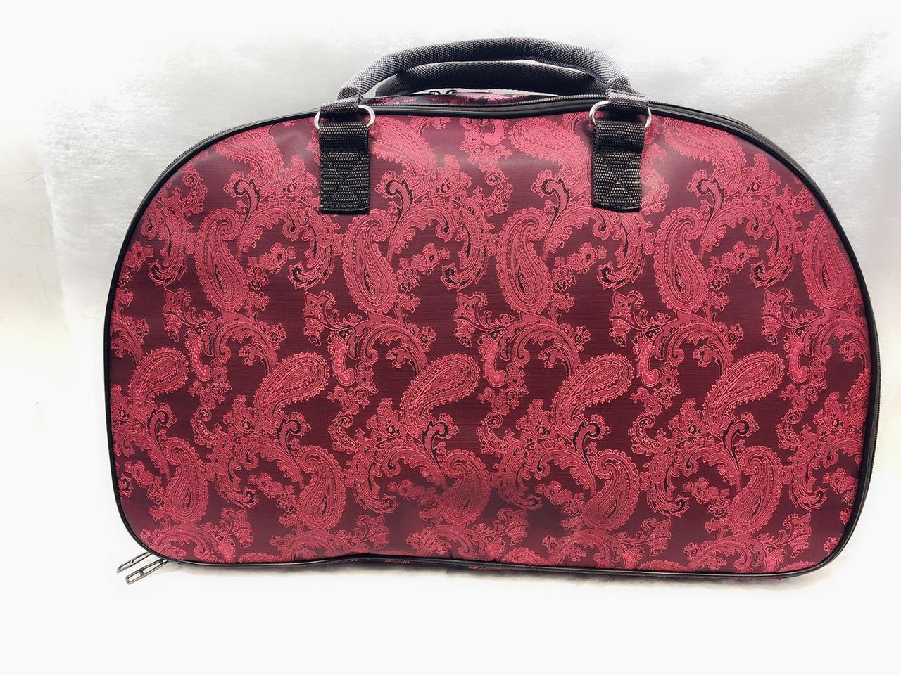 Жіноча сумка саквояж дорожня текстильна червона яскрава