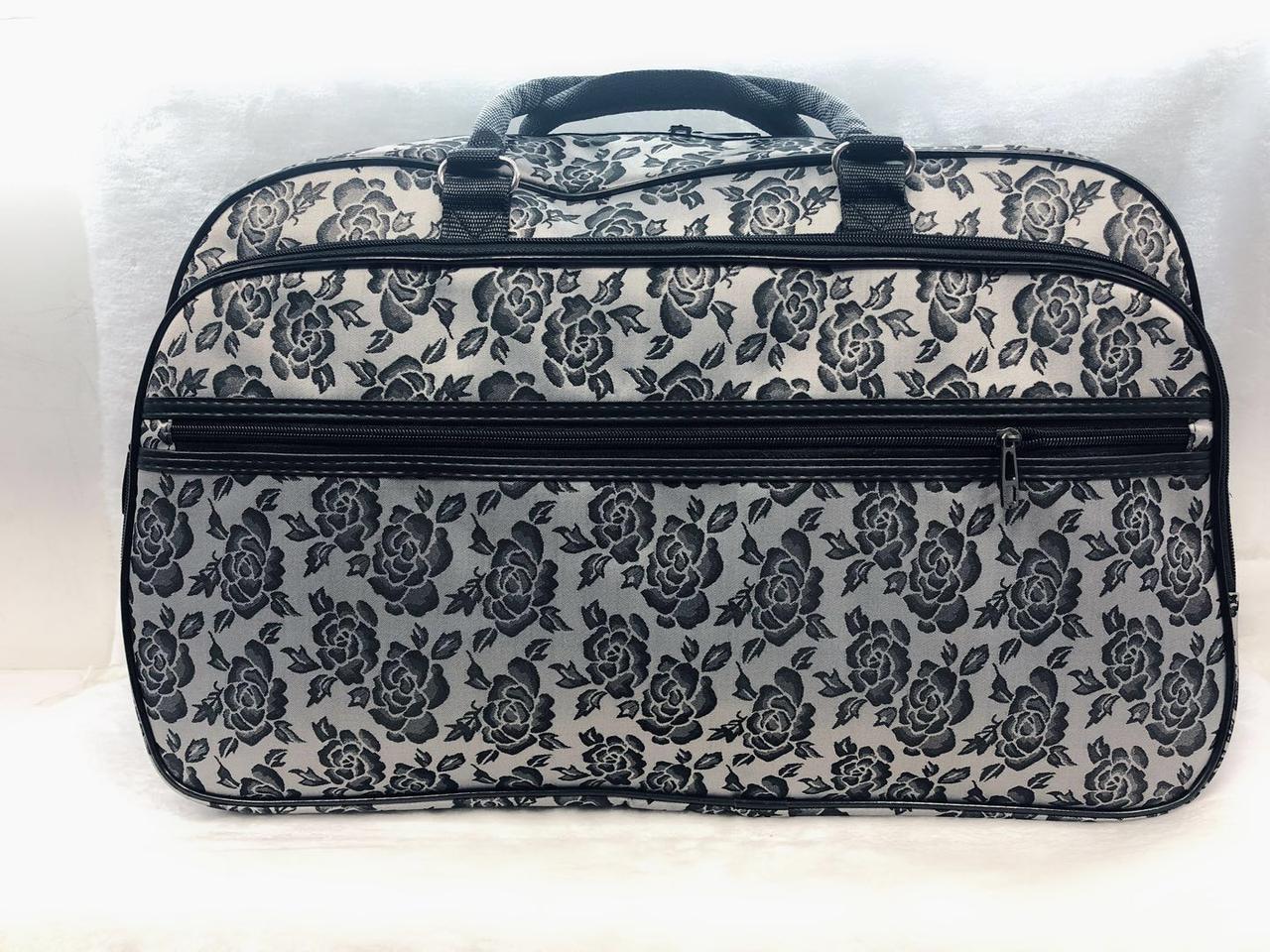 Текстильная женская дорожная сумка-саквояж серая удобная