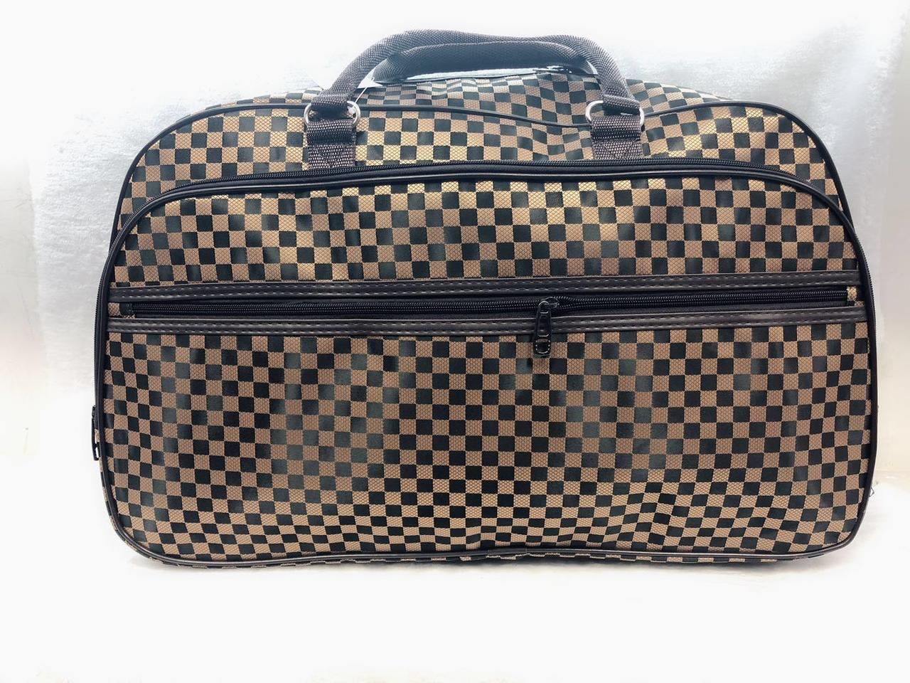 Стильная текстильная сумка-саквояж женская дорожная коричневая
