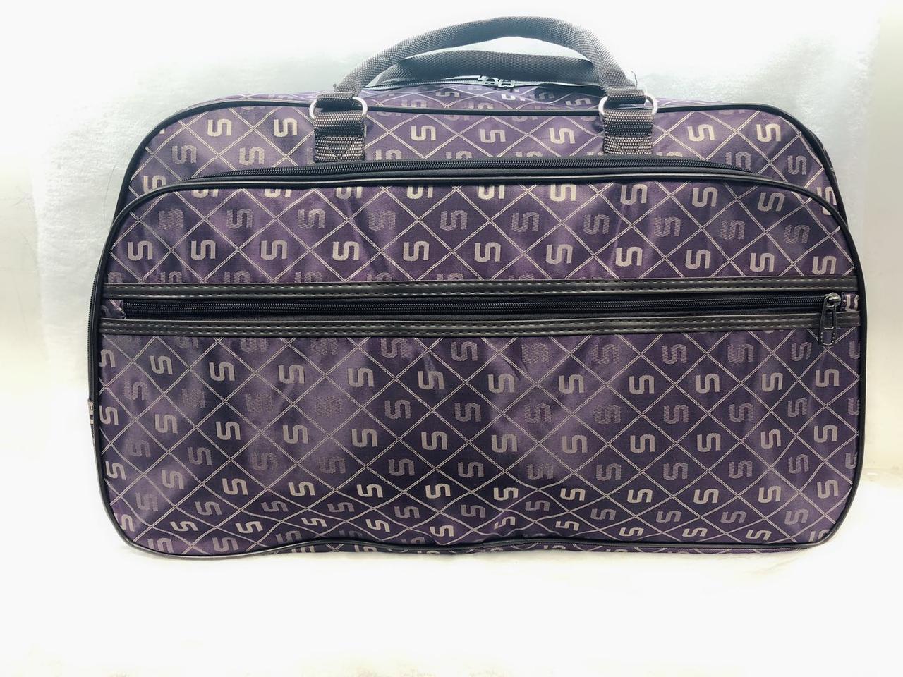 Текстильная сумка-саквояж дорожная большая фиолетовая женская