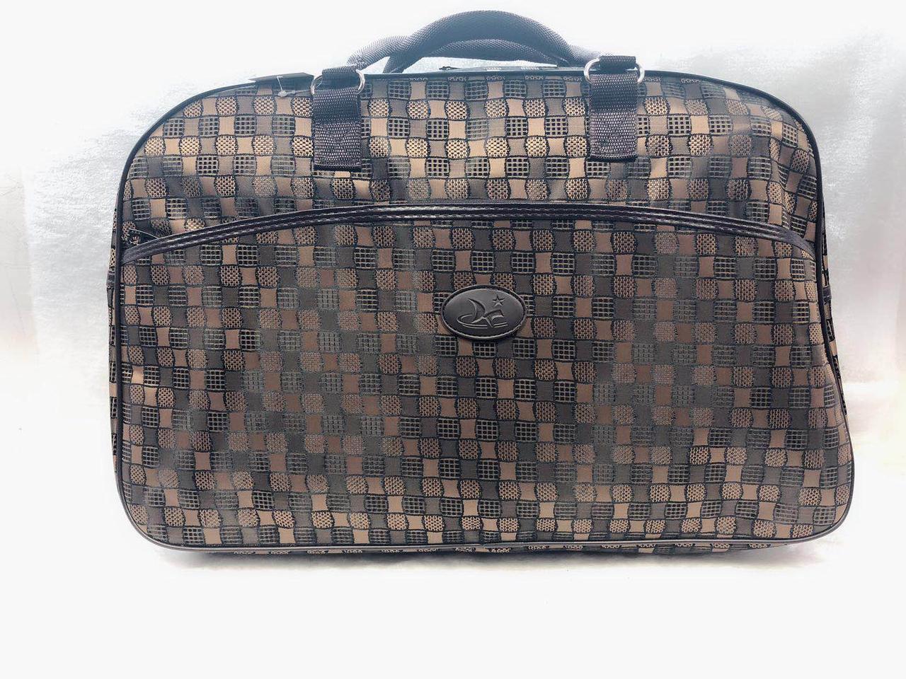Большая сумка-саквояж женская дорожная коричневая текстиль
