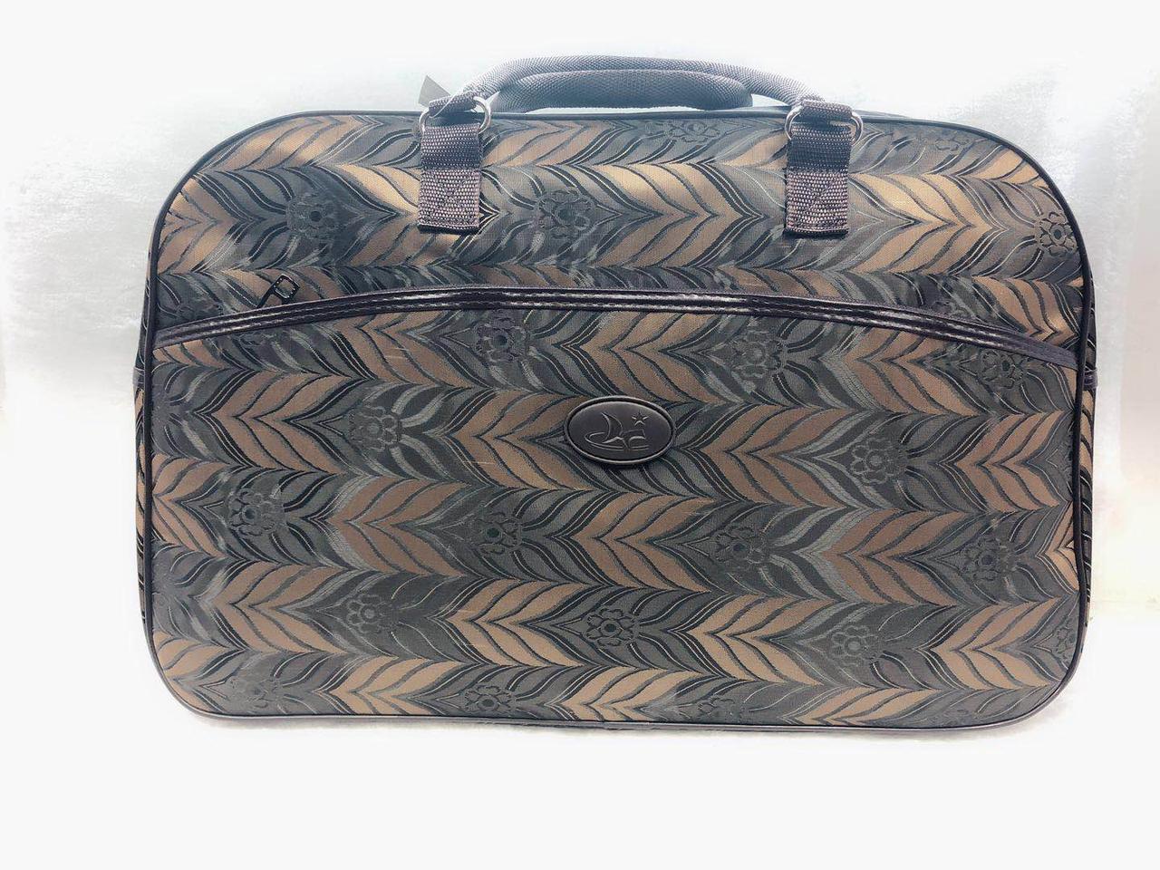 Текстильная вместительная дорожная сумка-саквояж женская из текстиля