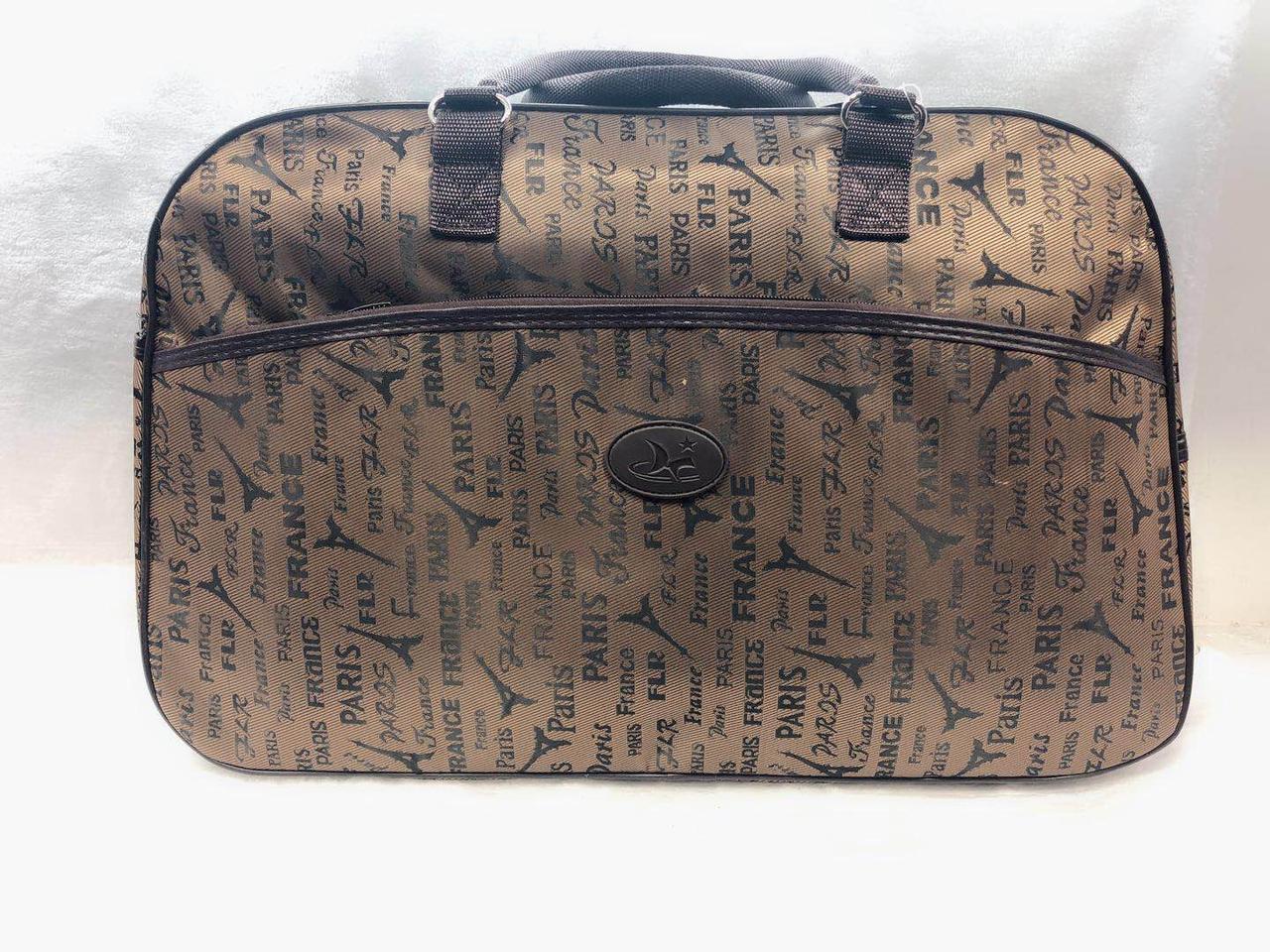 Стильна жіноча текстильна дорожня сумка-саквояж для подорожей коричнева