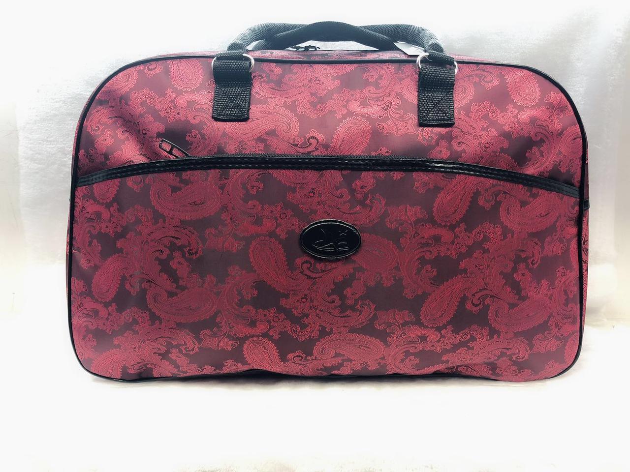 Червона жіноча дорожня текстильна сумка-саквояж велика