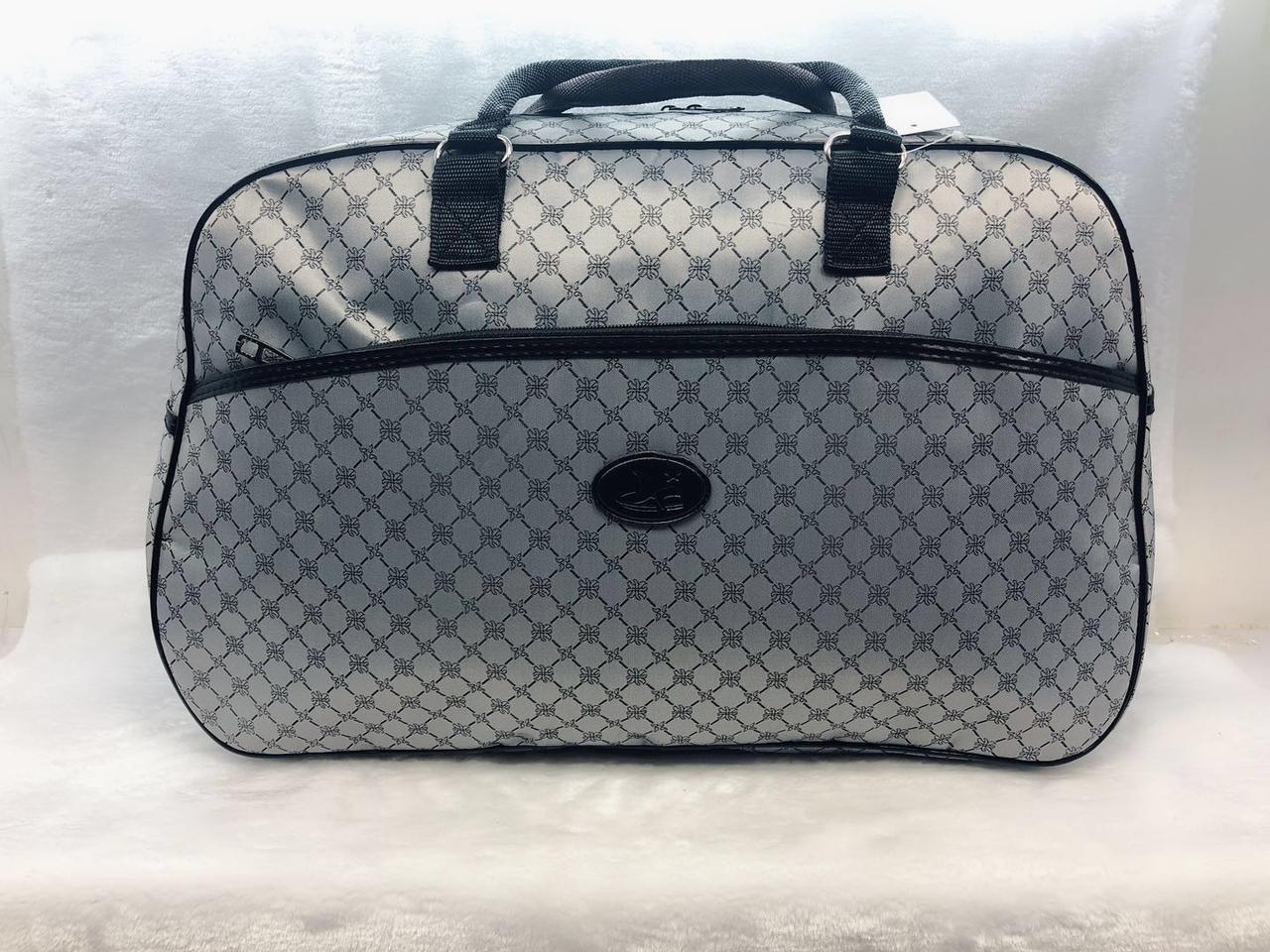 Сіра жіноча дорожня сумка-саквояж містка текстильна