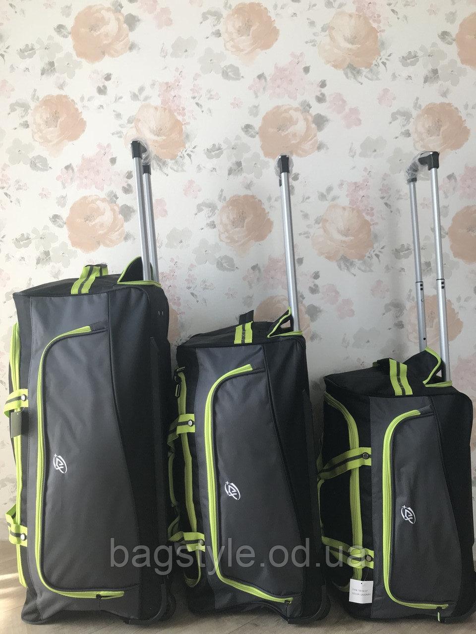 Набор (комплект) дорожных спортивных сумок на колесах (маленькая, средняя, большая)