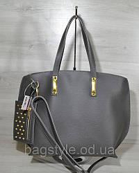 Повсякденна сумка жіноча велика сіра міська з додатковим гаманцем