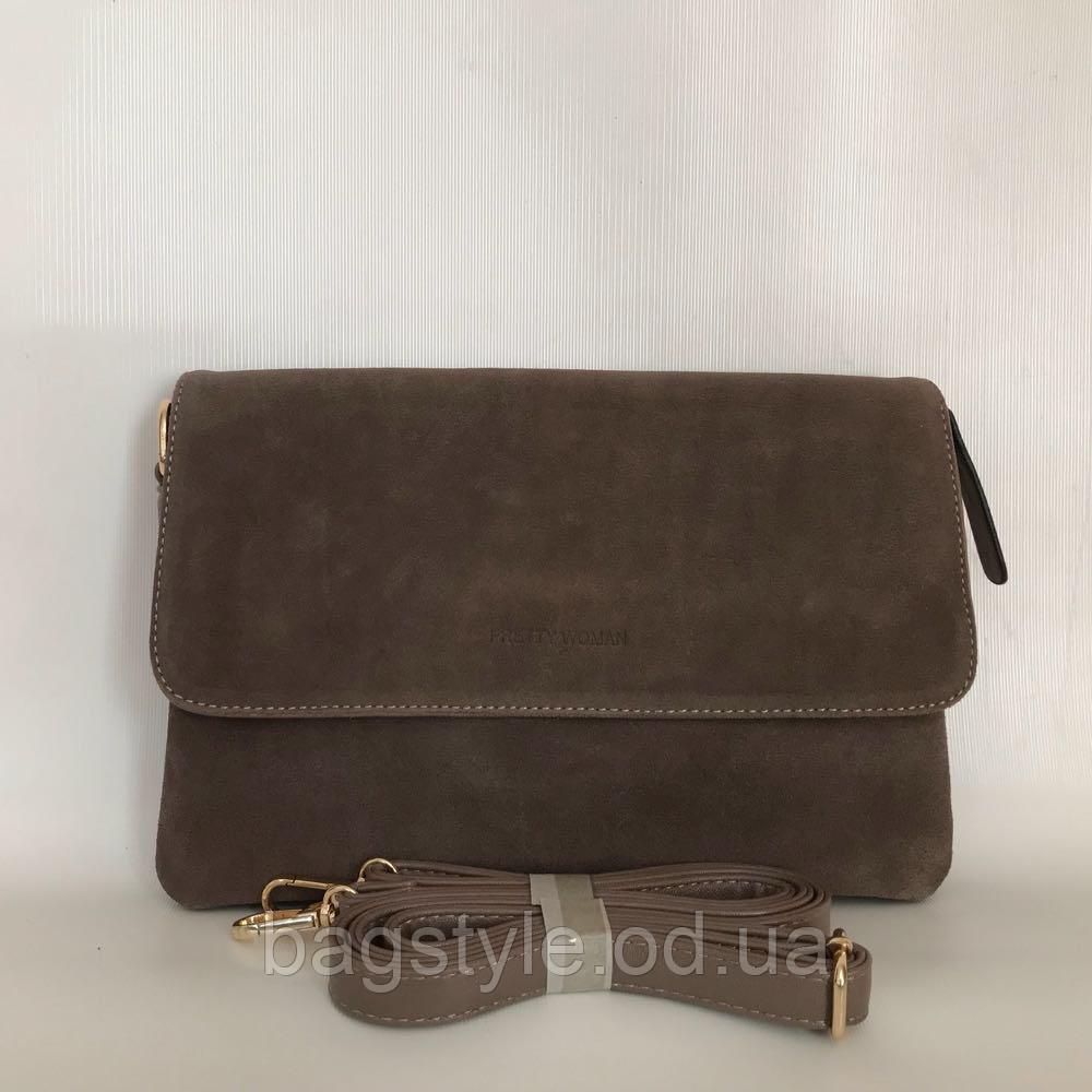Молодіжна міні сумочка клатч замшевий через плече кавового кольору Pretty Woman