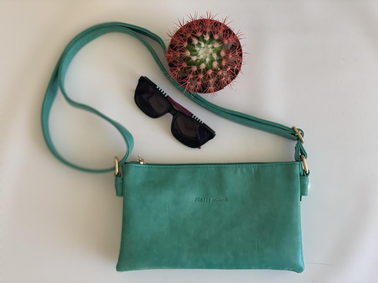 Женский клатч через плечо зеленый Pretty Woman