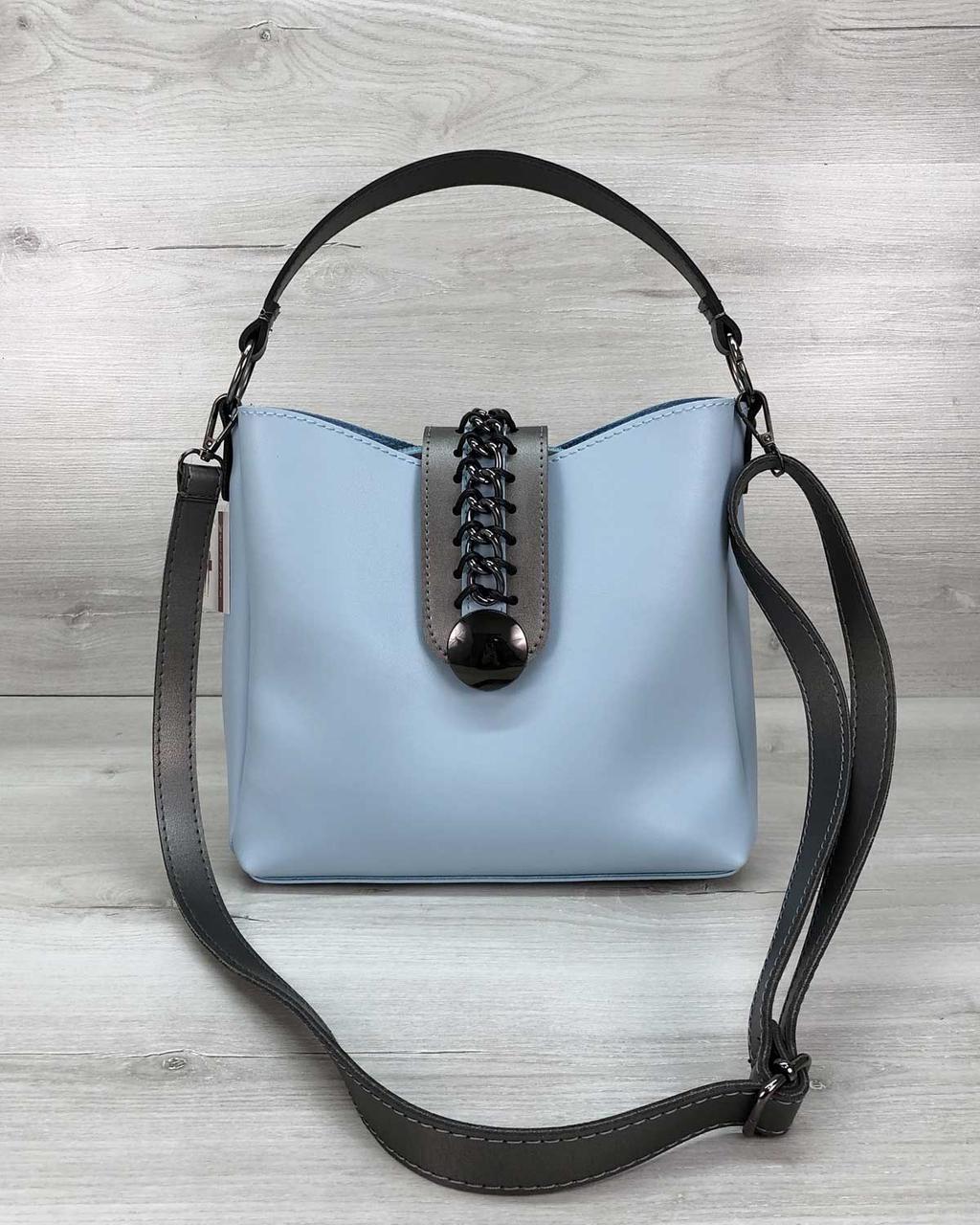 Жіноча сумка блакитна молодіжна на плечовому ремені
