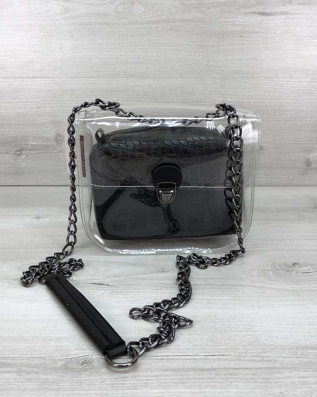 Силиконовая стильная сумочка клатч повседневный на цепочке с косметичкой черного цвета