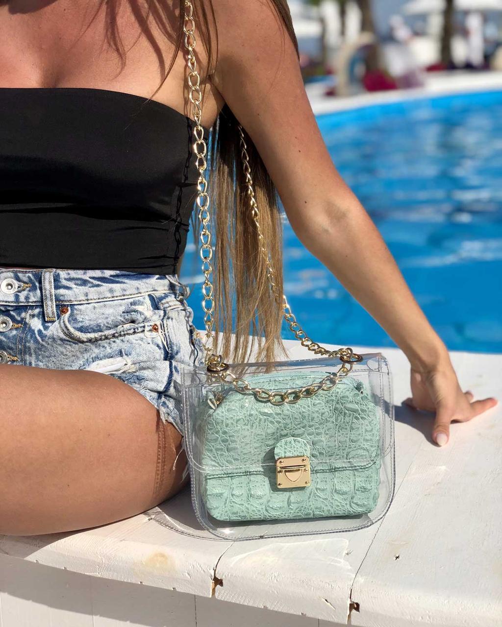 Жіноча силіконова сумочка клатч під крокодила з косметичкою на ланцюжку