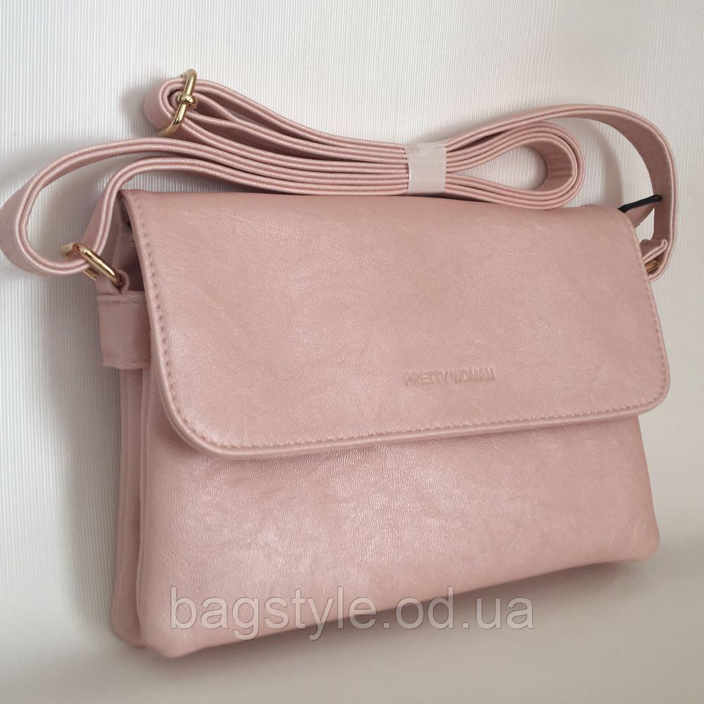 Маленькая летняя розовая сумочка клатч кроссбоди через плечо Pretty Woman