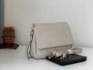 Бежевая стильная повседневная женская сумочка на длинном ремешке кроссбоди Pretty Woman