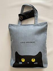 Тканевая эко сумка шоппер с принтом кота