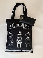 Оригинальная женская эко сумка шоппер из текстиля с принтом черная