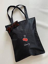 Молодежная тканевая эко сумка шоппер черная для покупок