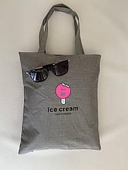 Молодежная тканевая сумка шоппер серая с принтом