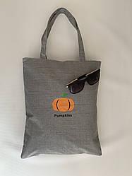 Городская эко сумка шоппер из ткани(хлопок) серая с принтом