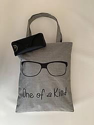 Женская тканевая эко сумка шоппер для пляжа и покупок с принтом серая