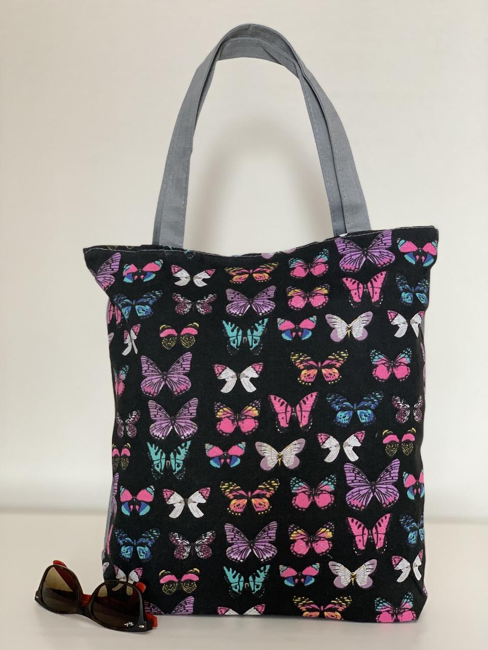 Молодежная эко сумка из хлопка с бабочками для пляжа и покупок
