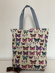 Молодежная сумка шоппер из ткани с бабочками для пляжа и покупок