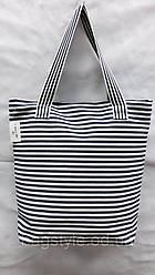 Летняя льняная пляжная сумка в полоску темно-синюю