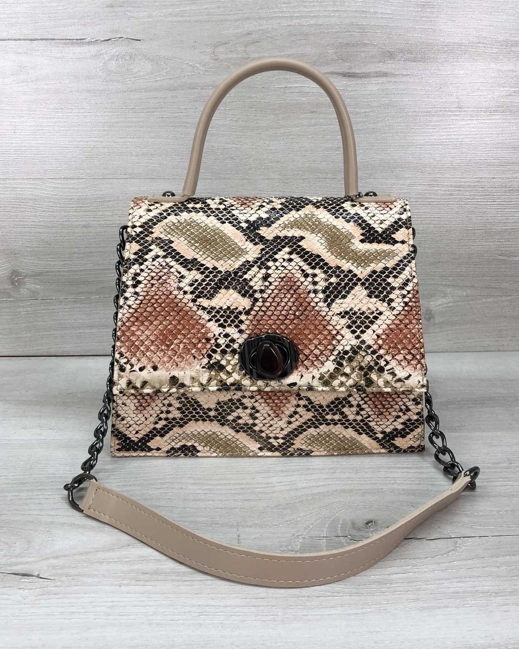 Бежевая стильная бежевая сумочка под рептилию