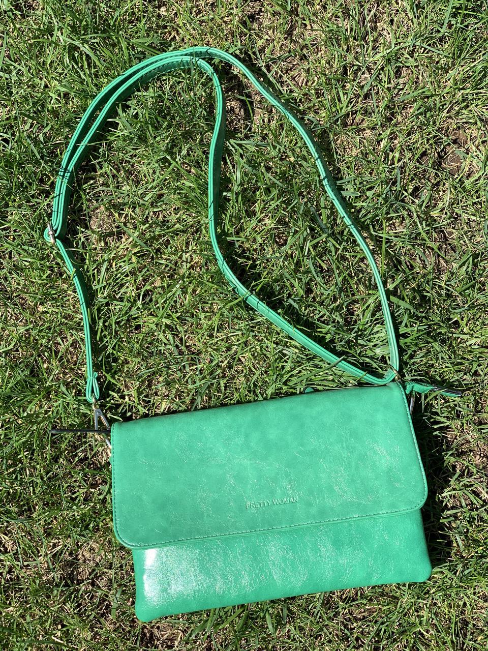 Зеленая стильная сумочка клатч через плечо Pretty Woman