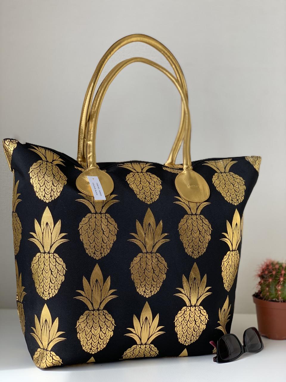 Большая тканевая пляжная сумка шоппер черная с ананасами