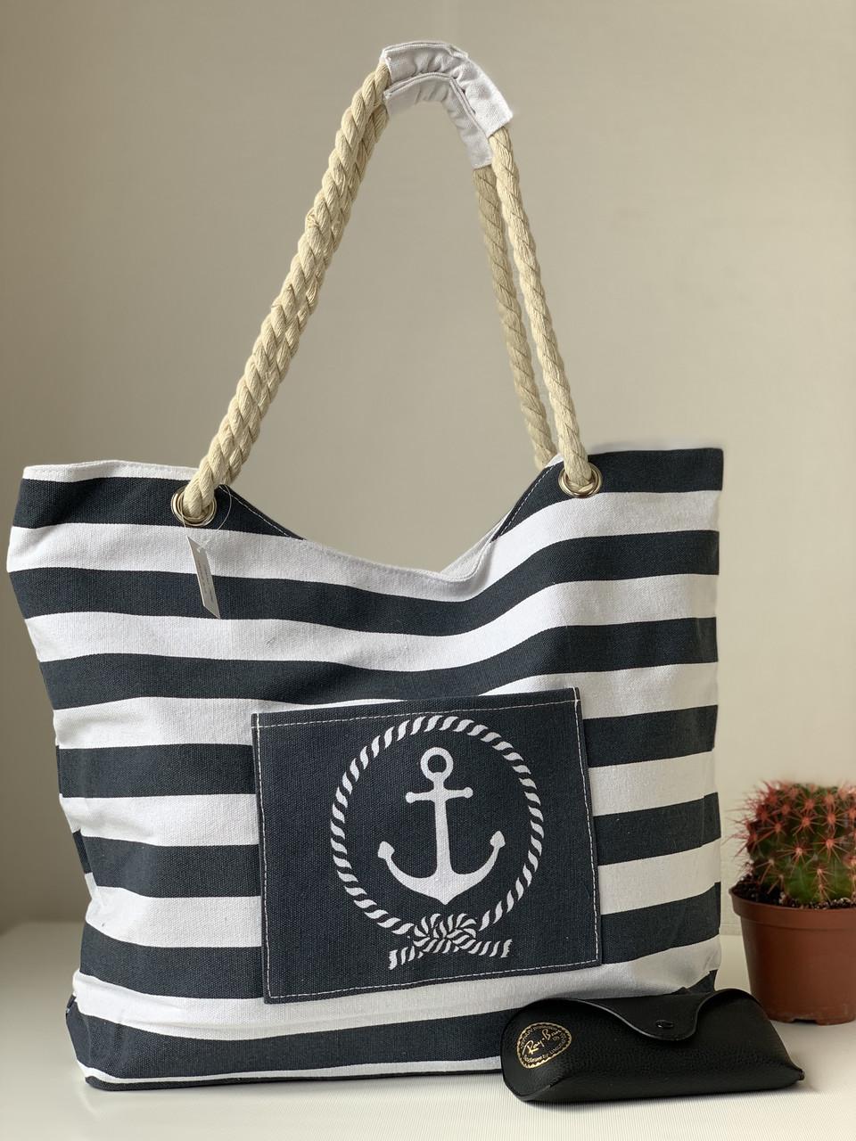 Лляна пляжна сумка в смужку чорно-білу