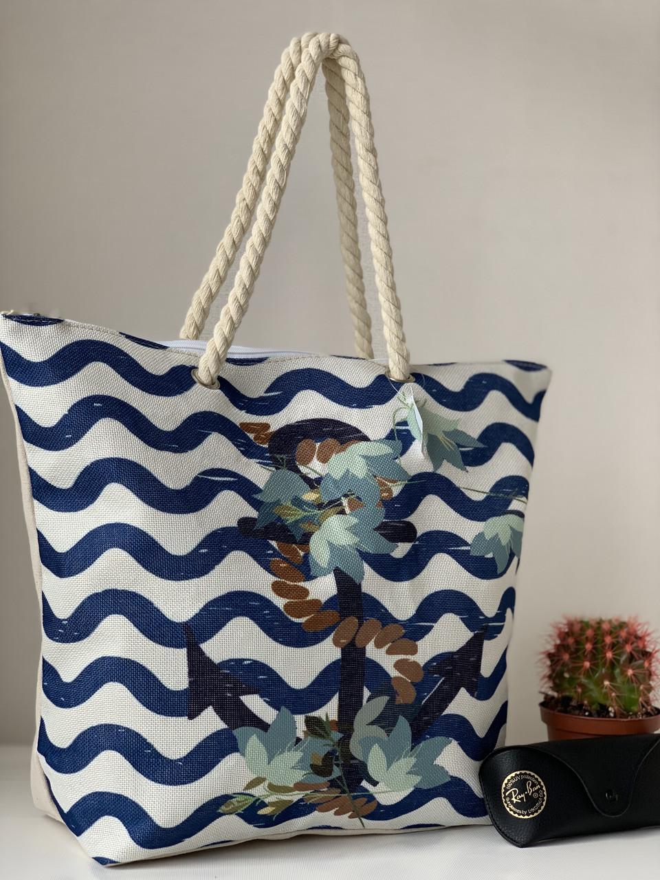 Пляжная летняя сумка льняная молодежная вместительная с якорем