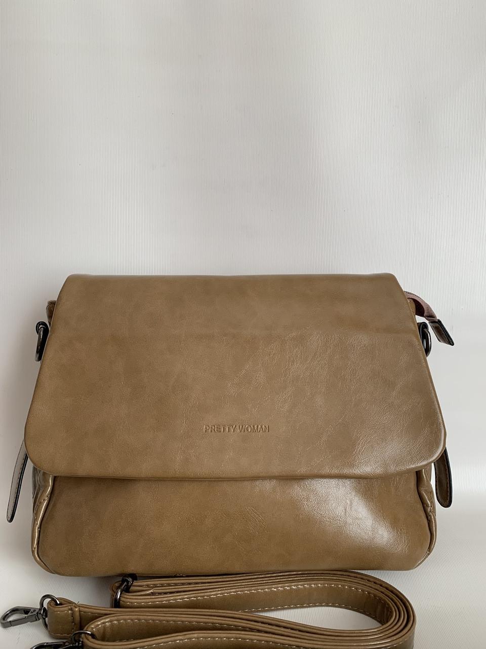 Класична сумка жіноча коричнева міська на довгому ремінці через плече Pretty Woman