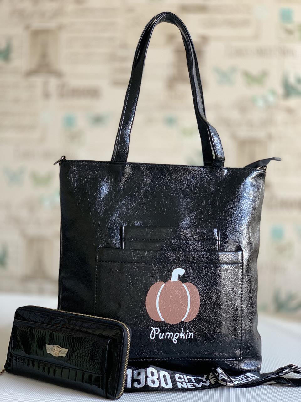 Чорна жіноча міська сумка шоппер з принтом повсякденна