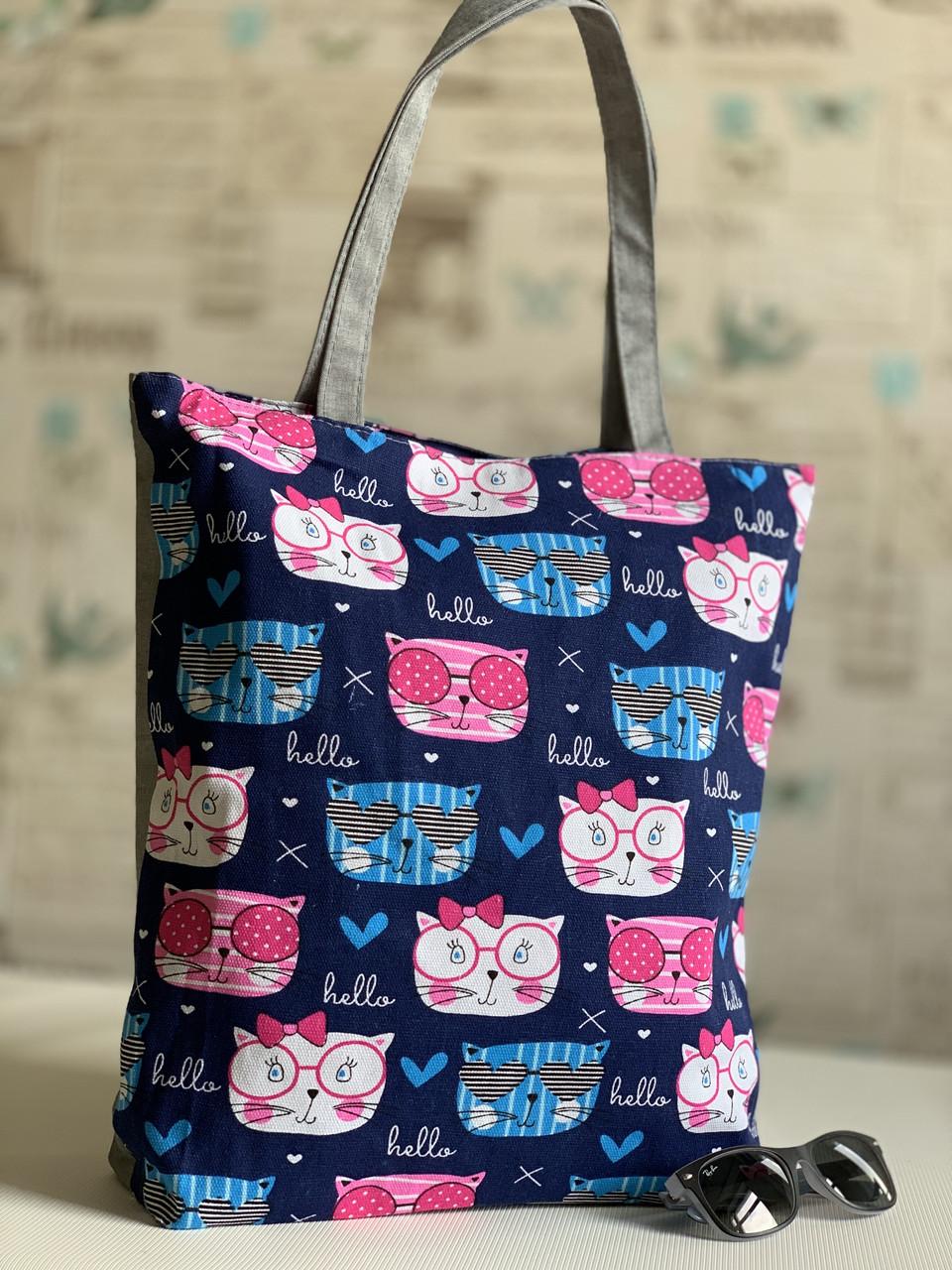 Эко сумка пляжная текстильная коттоновая с котиками