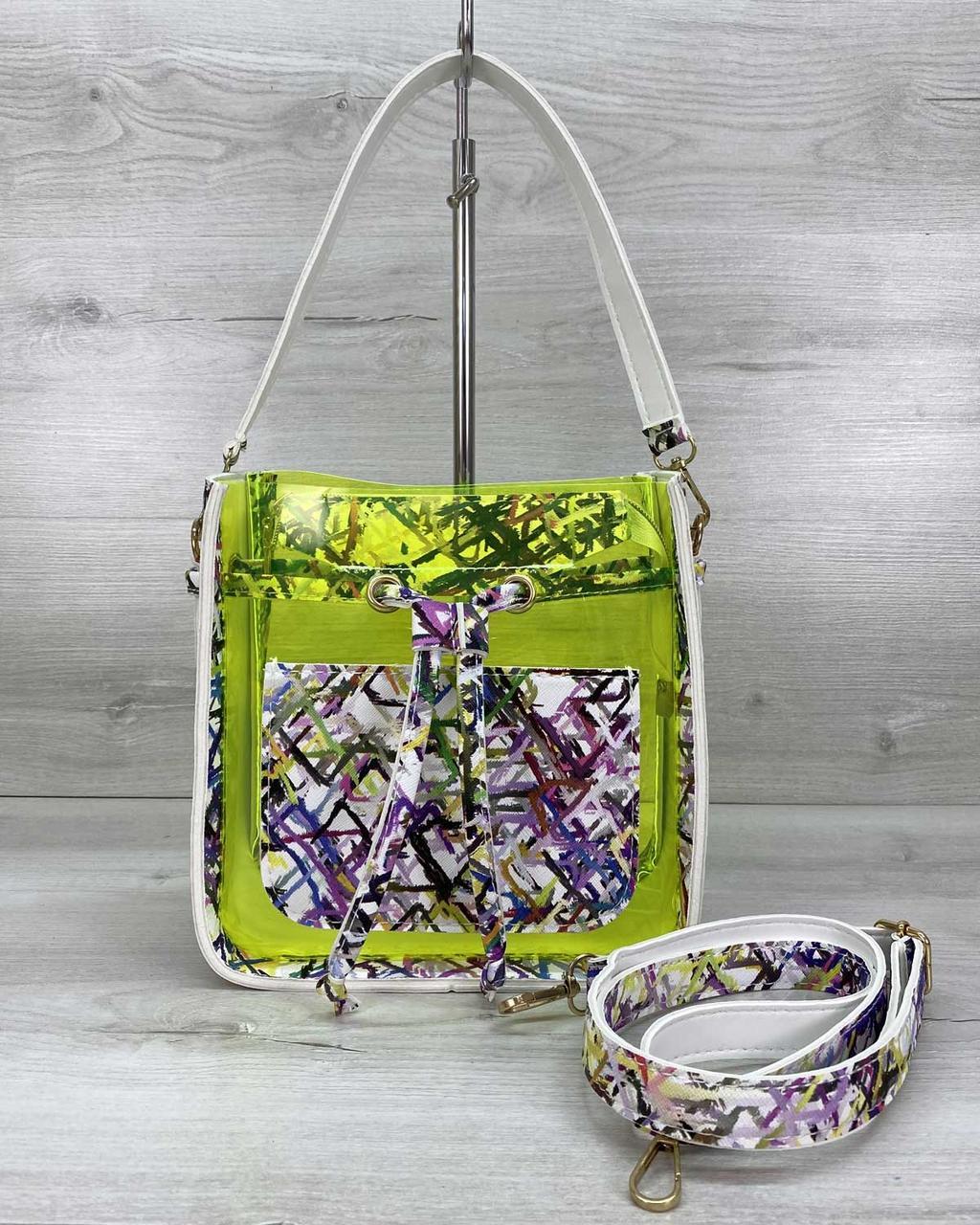 Стильна молодіжна сумка річна на плечовому ремені силіконова і екошкіра