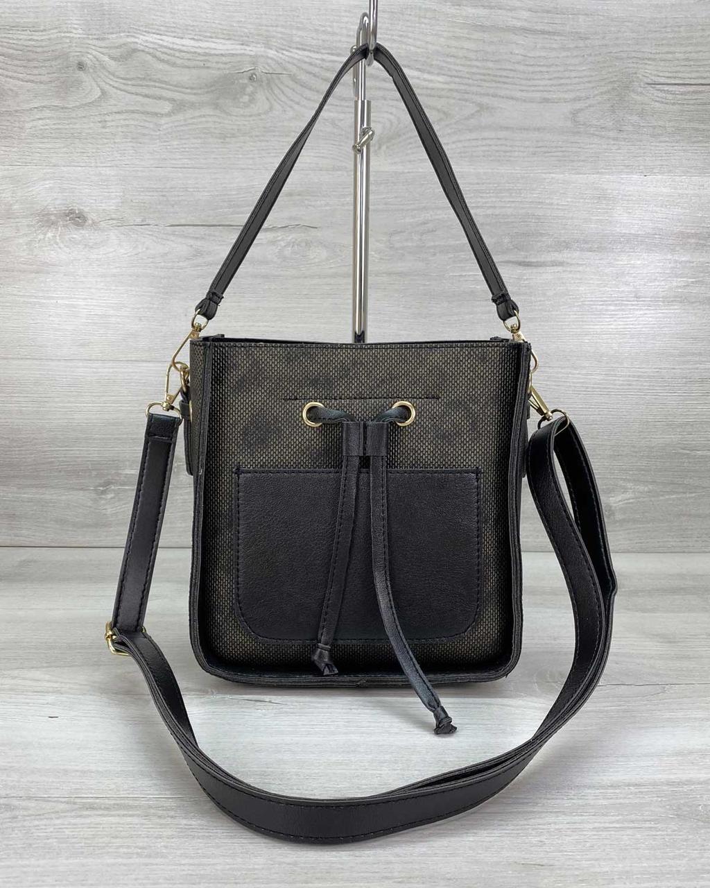 Стильная каркасная женская сумка черная через плечо