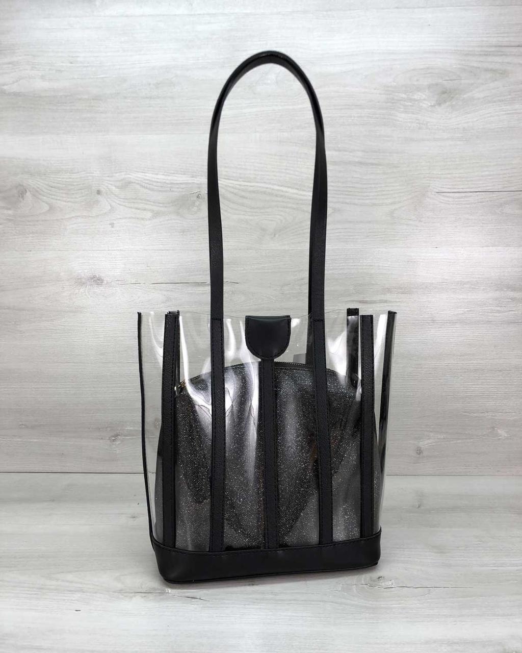 Женская стильная силиконовая сумка с черной блестящей косметичкой