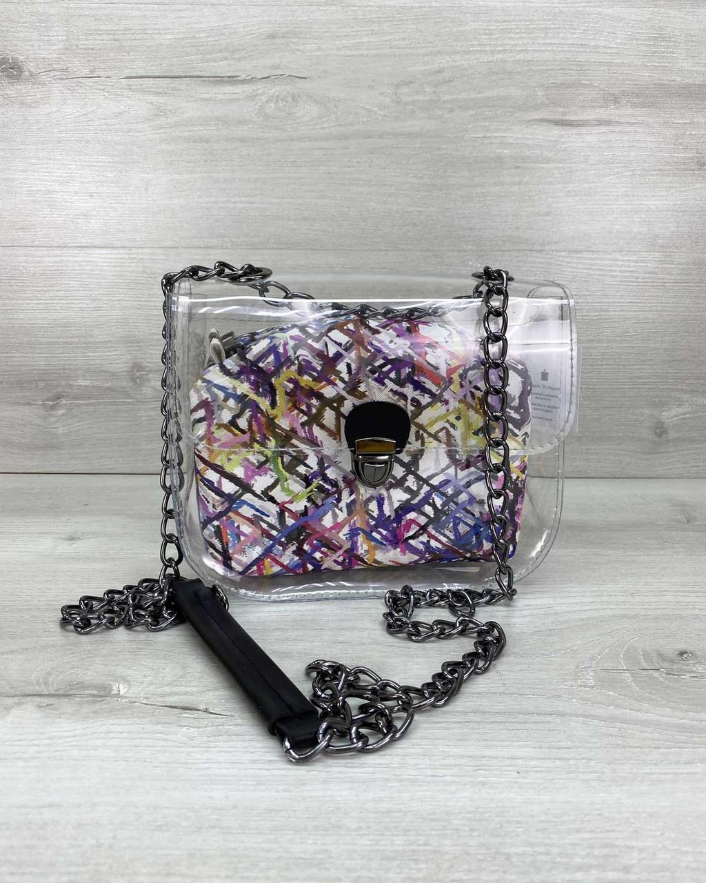 Річна стильна силіконова маленька сумочка на ланцюжку з косметичкою