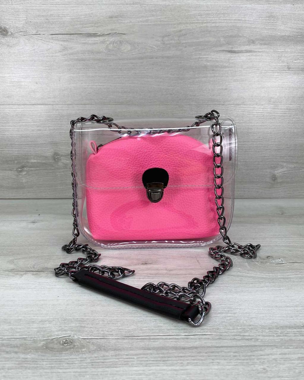 Силиконовая прозрачная сумка клатч на цепочке с розовой косметичкой молодежная
