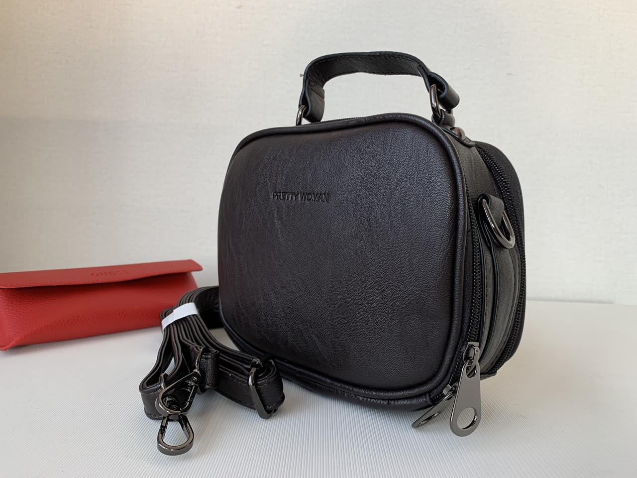 Маленькая женская сумка клатч темно-коричневая шоколадного цвета через плечо кроссбоди Pretty Woman