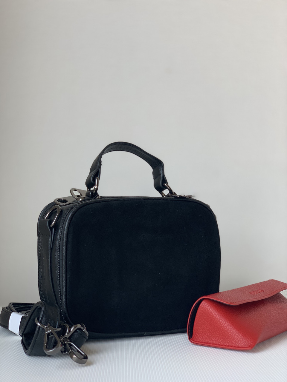 Маленька чорна замшева сумка клатч кроссбоди через плече Pretty Woman