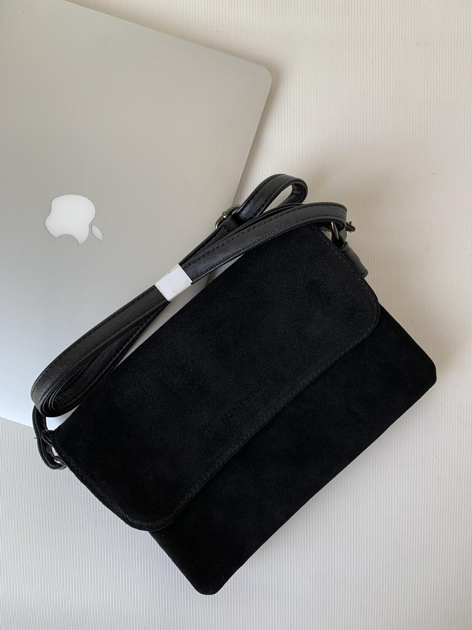 Замшева жіноча чорна маленька сумочка клатч кроссбоди через плече Pretty Woman
