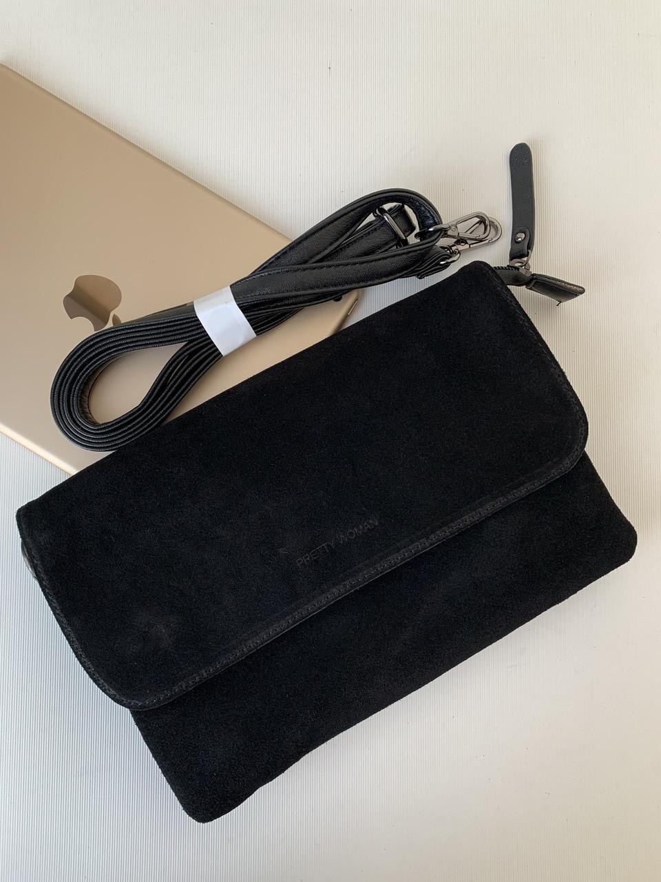 Жіноча чорна замшева сумка клатч повсякденний універсальний через плече Pretty Woman